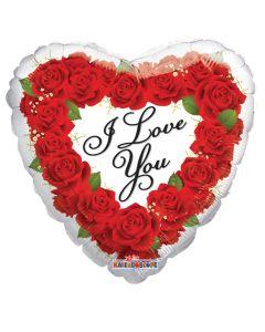 Foliopallo 45 cm, sydän, I Love You ruusut