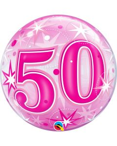"Bubble 50 Pink Starburst Sparkle  22"""