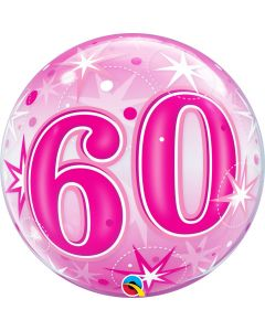 "Bubble 60 Pink Starburst Sparkle  22"""