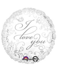 Foliopallo 45 cm, pyöreä, I Love You -teksti, valkoinen